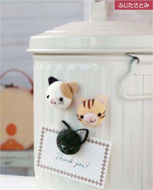 DIY handmade Wool Felt kit Cats magnet - Japanese kit package