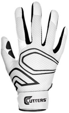 Cutters Gloves Youth Lead-Off Baseball Batting Glove, White/Black, Medium