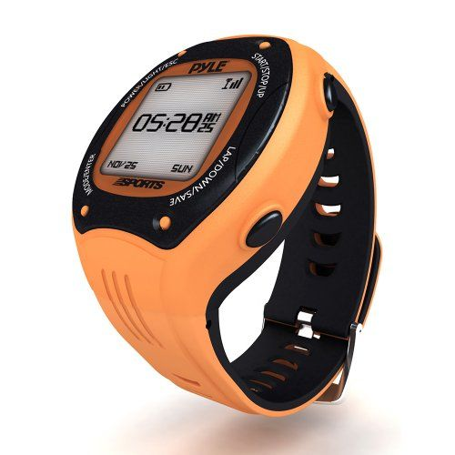 Pyle Extreme GPS Sports Watch Workout Trainer  ANT Heart Rate Monitor Compatible  For Tracking Running Biking Hiking Outdoors  Export Data to Map my Run and Strava  Displays Pace Speed and Distance Orange *** You can find out more details at the link of the image.
