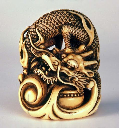 Dragon, ivory, part of zodiac, Okakoto