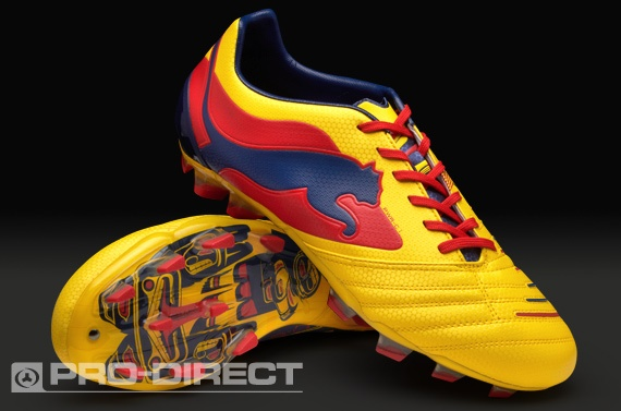 Puma Football Boots - Puma Powercat 1 Graphic FG - Firm Ground - Soccer Cleats - Blazing Yellow-Medieval Blue-Flame Scarlet