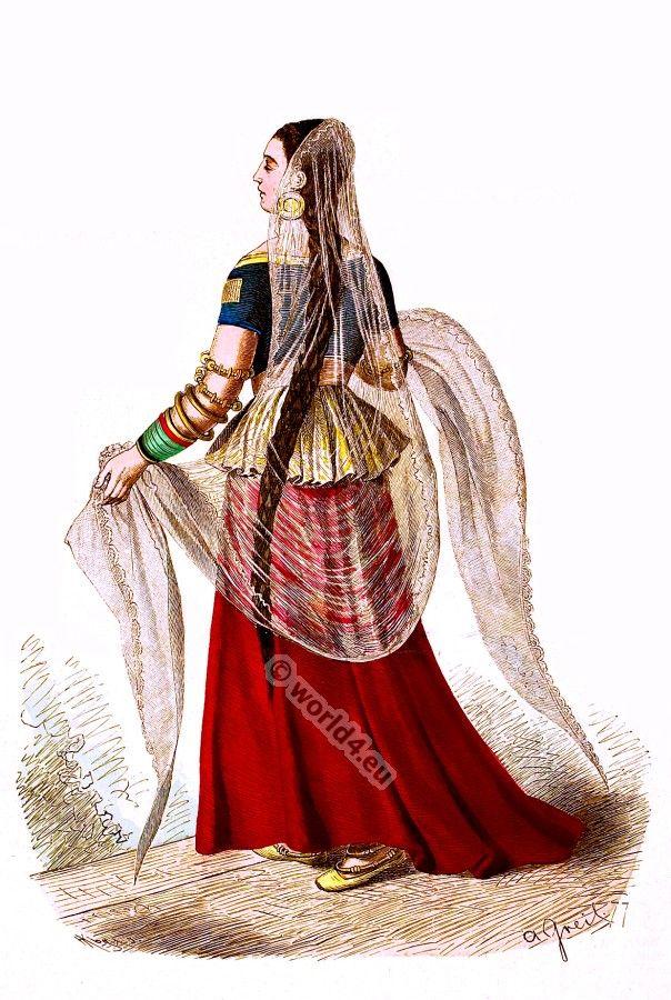 India Mughal costume. Anarkali suits, Salwar Kamiz. 15th century costume. [Franz Lipperheide, 1876-1887]