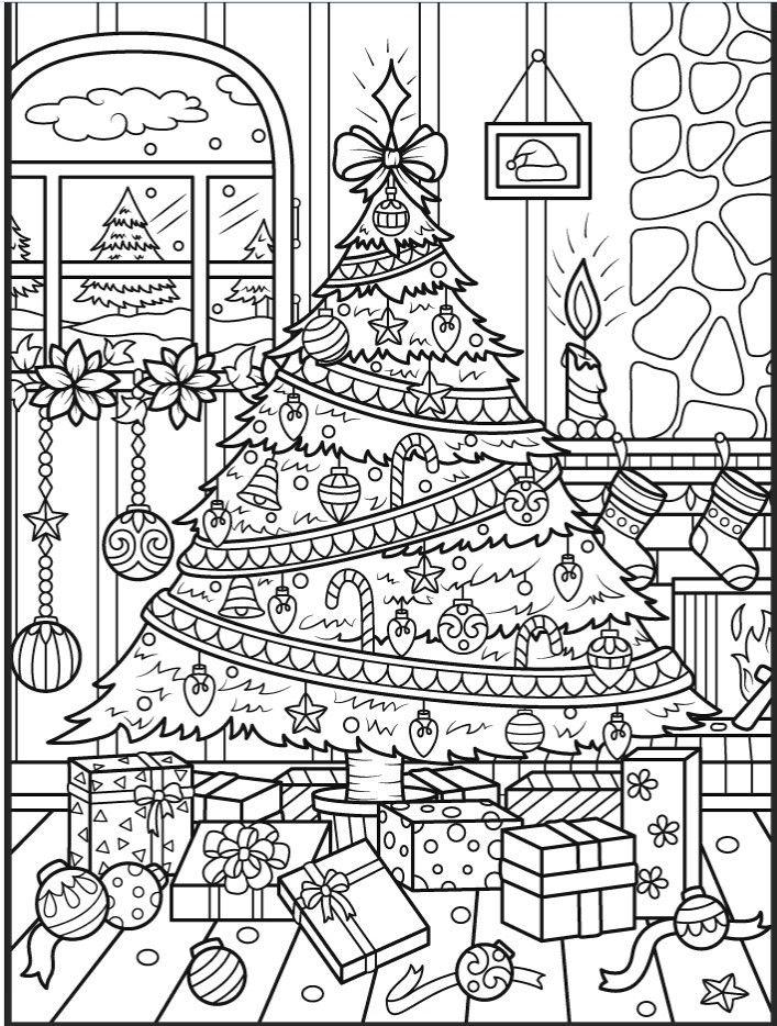 Раскраски «Новый год» - «Красивая большая новогодняя елка ...