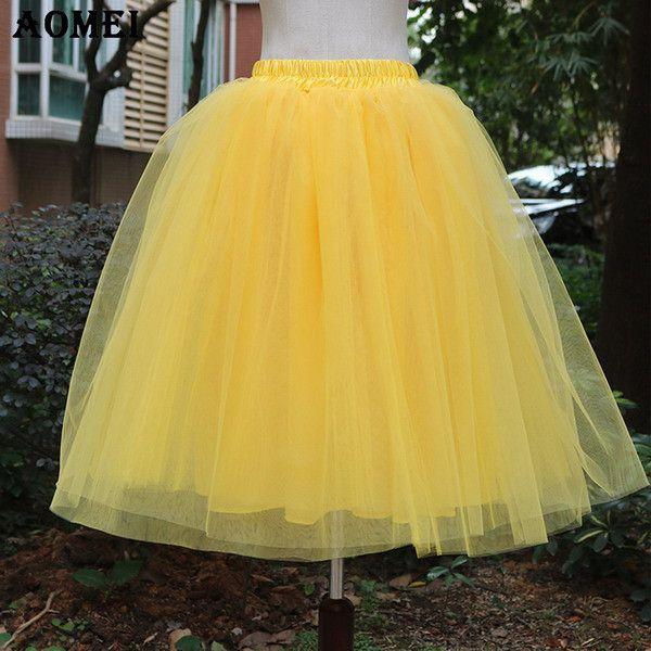 4bf2ac61692 New Puff Women Chiffon Tulle Skirt White faldas High waist Midi Knee Length  Chiffon plus size
