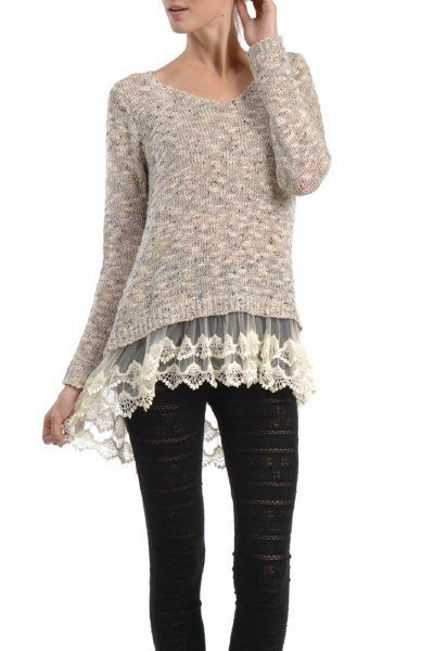 i like the idea of adding lace or material to the bottom of a shirt