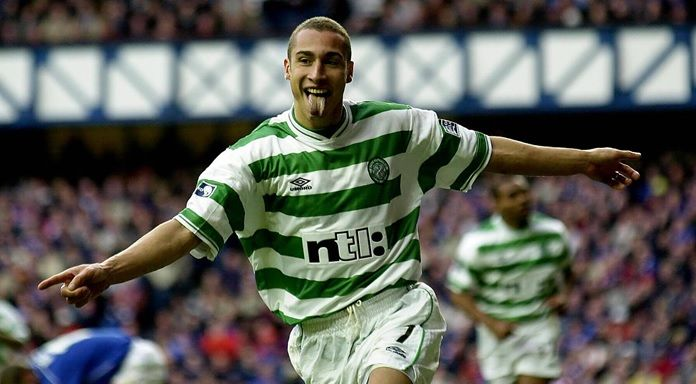 Henrik Larsson scored twice for Celtic 14 years ago today to break Charlie Nicholas' record of 48 goals in a season where he helped Celtic regain the League title.