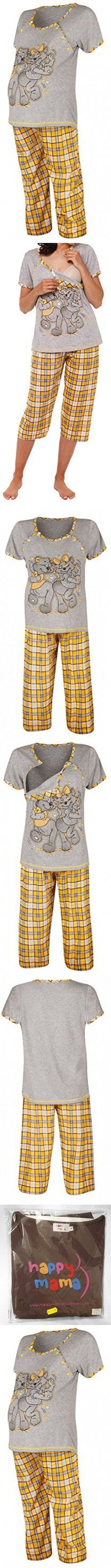 Happy Mama. Womens Maternity Top Nursing Breastfeeding Pyjamas Nightwear. 191p (Yellow, US 4/6, M)