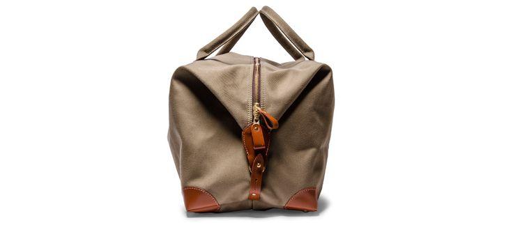 Большой холст и кожа Holdall сумка (Olive) - Кауфман Mercantile