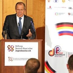 Minister Sergey Lavrov gives a speech at German-Russian Year of Youth Exchange