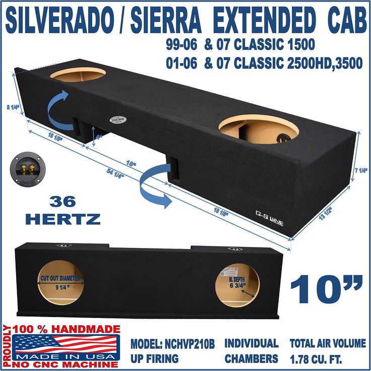 "Chevy Silverado GMC Sierra Ext Extended Cab Truck 10"" Sub Subwoofer Box Enclosure"