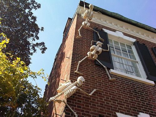 Skeleton Halloween Decorations Climbing Up A House