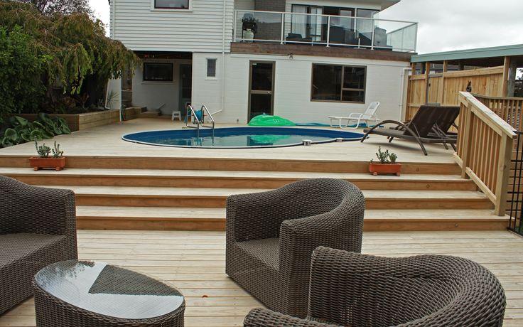 Suburban Oasis; Two Level Pine Pool Deck, Fences and Gardens - Mairangi Bay