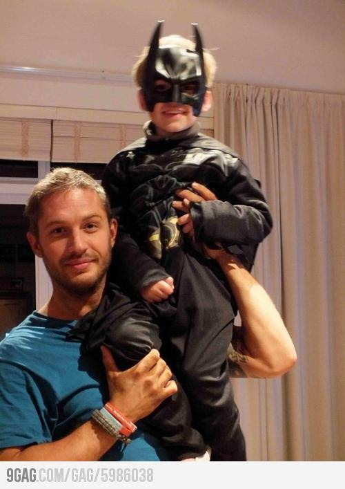 "Ok this is adorable -- I love him more now!     Tom Hardy ""Bane"" and His Son ""Batman"". - via G."