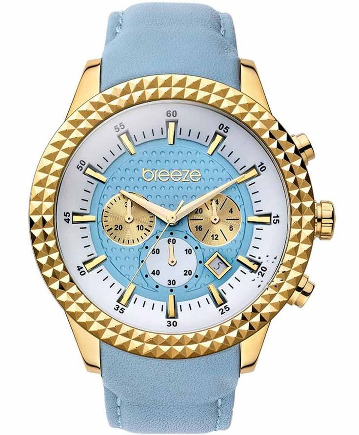 BREEZE Shinning Tribute Chrono Cyan Leather Strap Τιμή: 175€ http://www.oroloi.gr/product_info.php?products_id=35258