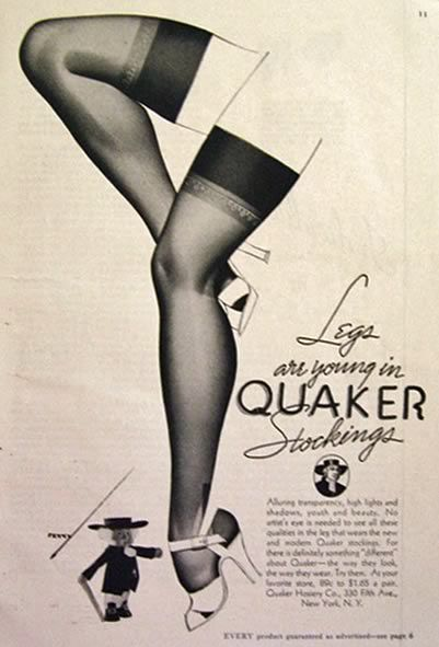 ✿ 1937 Quaker Stockings Ad ~ George Petty Art ✿