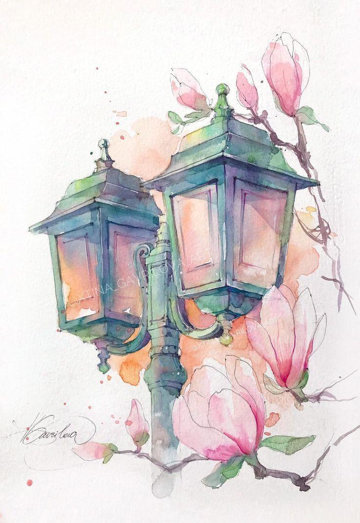 La Lanterne Avec Magnolia Peinture Aquarelle Originale Etsy