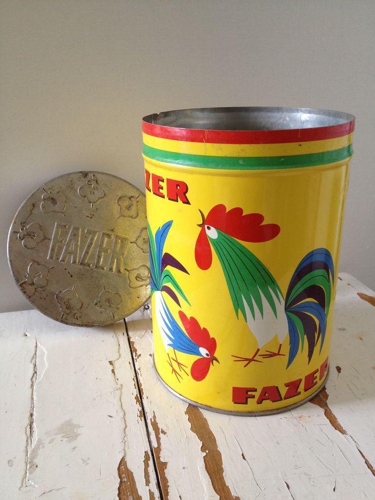 Fazer kukko Peltipurkki - vintage Tin