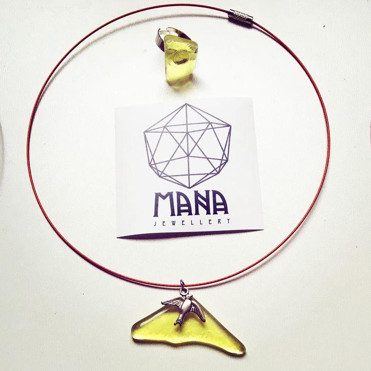 MANA jewelry sunshine yellow bird pendant and ring