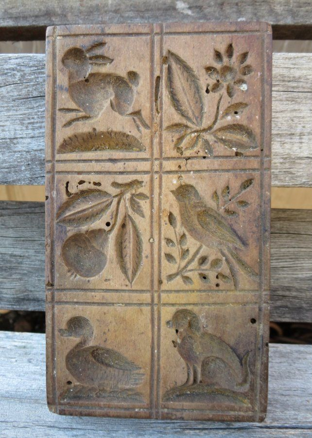Antique Black Forest Carved Springerle Cookie Mold Rabbit Duck Hunting Dog Bird