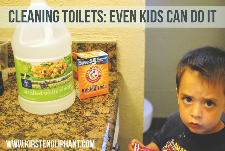 Kid-friendly, eco-friendly toilet cleaning using two ingredients: baking soda and vinegar. It's cheap, easy, and a great chore for kids.
