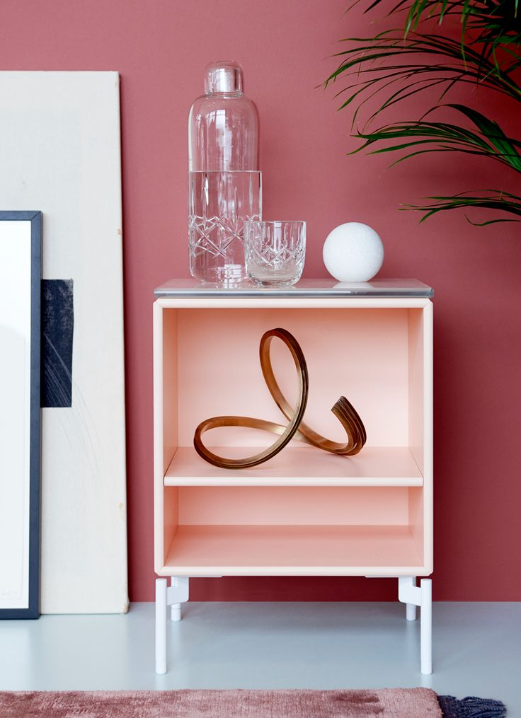 STAY - side table with glasstop from Montana Collection in the colour Peach