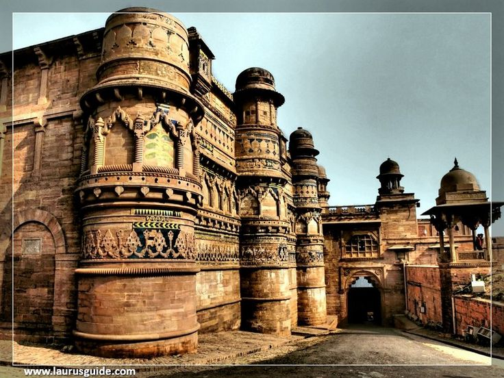 Gwalior Fort is an 8th-century hill fort near Gwalior, Madhya Pradesh, and central India. The fort consists of a defensive structure and two main palaces, Gurjari Mahal and Man Mandir, built by Man Singh Tomar. The fort has been controlled by a number of different rulers in its history. The Gurjari Mahal palace was built for Queen Mrignayani. It is now an archaeological museum.