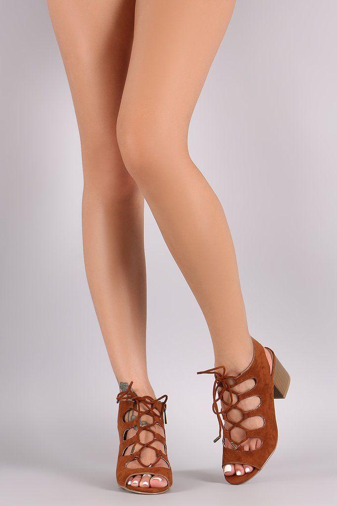 Sexy Black Side Lace Up Fringe Accent Open Toe Wooden Chunky Heels Faux Suede ssEGI3yN