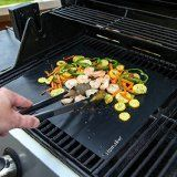 Revolutionize Your Barbecue Experience - Grill Mats for your Barbecue Grill – Pack of 3 – Size 13 x 16 inches. For use with Charcoal, Electric, Gas, Barrel, Portable, Pit and Brick BBQ Grills – Our Non-stick Grill Mats Make BBQ easy. Grill meat, fish, vegetables, eggs, prawns as nothing can fall between the bars.  Easy to wipe clean and dishwasher safe. Can also be used as baking mats and oven liners.- Price: $18.97 - Available at: https://www.amazon.com/dp/B01HAG4AW0