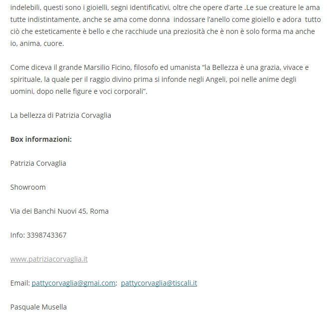 Patrizia Corvaglia Gioielli | Eventiculturalimagazine