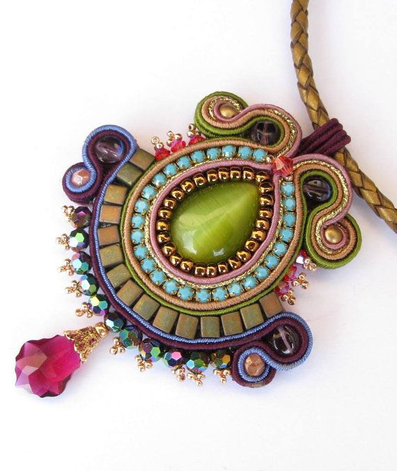 Soutache pendant in Green Turquoise Olive Purple by MiriamShimon