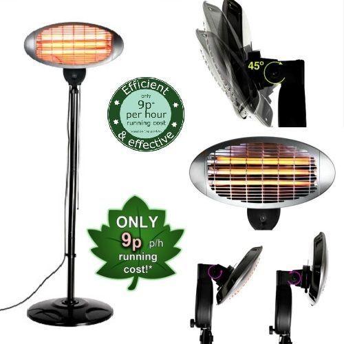 Amazing Electric Patio Heater Adjustable Free Standing Quartz Garage Indoor Outdoor  Warm #Firefly