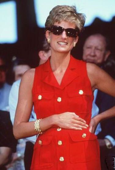 July 3, 1994:  Princess Diana in the Royal box on centre court for the men's singles final between Pete Sampras and Goran Ivanišević.at Wimbledon.