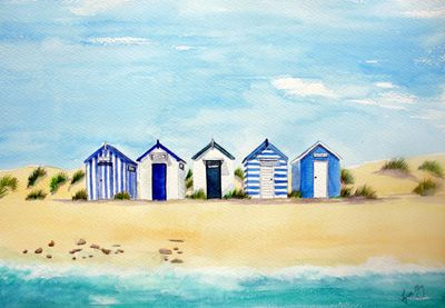 Southwold Blue and White Beach Huts - Lynette Amelie Art English Seaside and Beach Hut Paintings