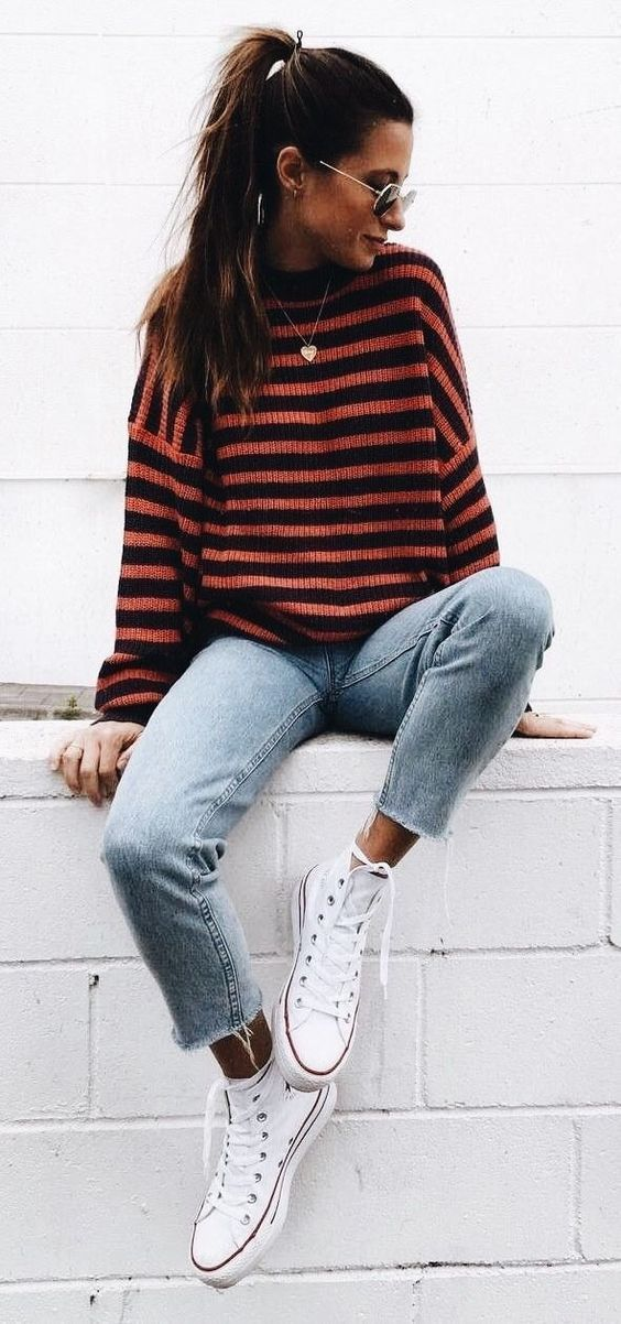 #Winter #Outfits / Long Sleeve Stripe Sweater - White Sneakers