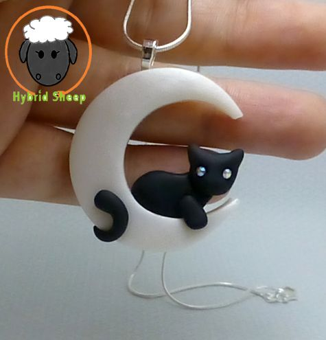 Cat Moon Necklace by Hybrid-Sheep.deviantart.com on @deviantART