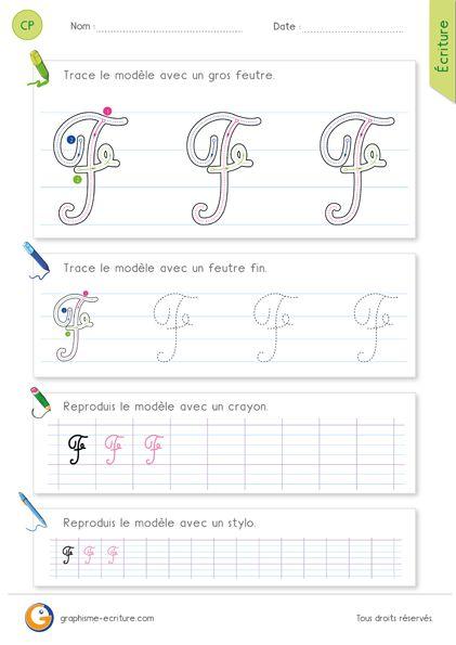 feuille d ecriture pour apprendre crire la lettre f majuscule en cursive en classe de cp ce1. Black Bedroom Furniture Sets. Home Design Ideas