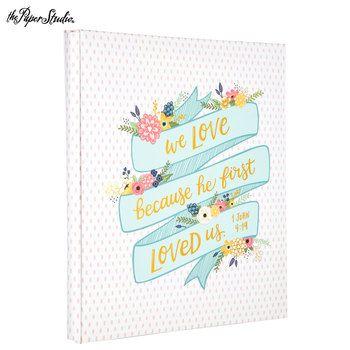 "8 1/2"" x 11"" 1 John 4:19 Floral & Dots Post Bound Scrapbook Album | Hobby Lobby | 1252188"
