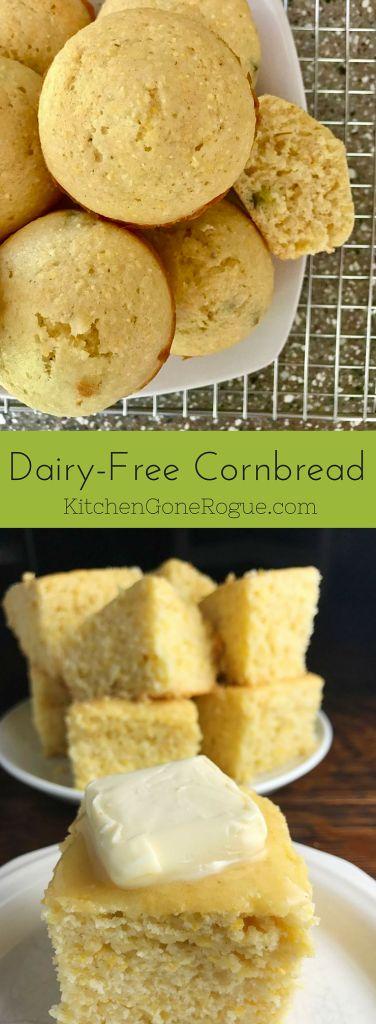Sweet Dairy-Free Cornbread (with recipe video on website!)
