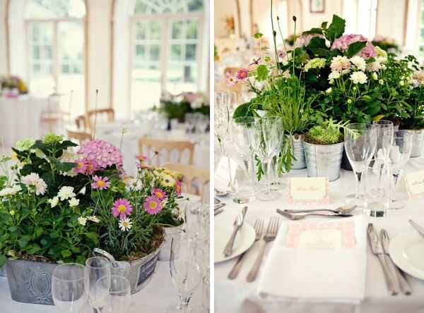 """100 Ways to Personalize Your Wedding"" 20. table centres with multiple mini vases which guests can then take away with them at the end of the night, so they double up as favours and a lovely memento of your wedding day"