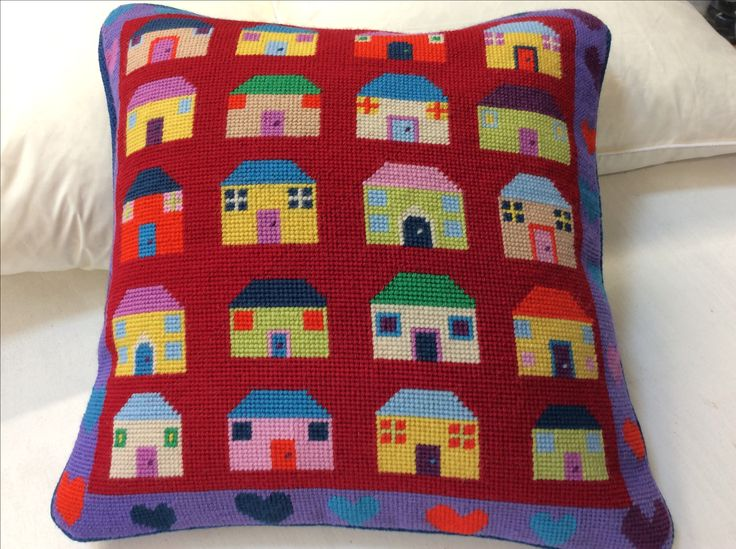 Jolly Red Quilt Houses and Hearts tapestry. Stitch through your wool stash!