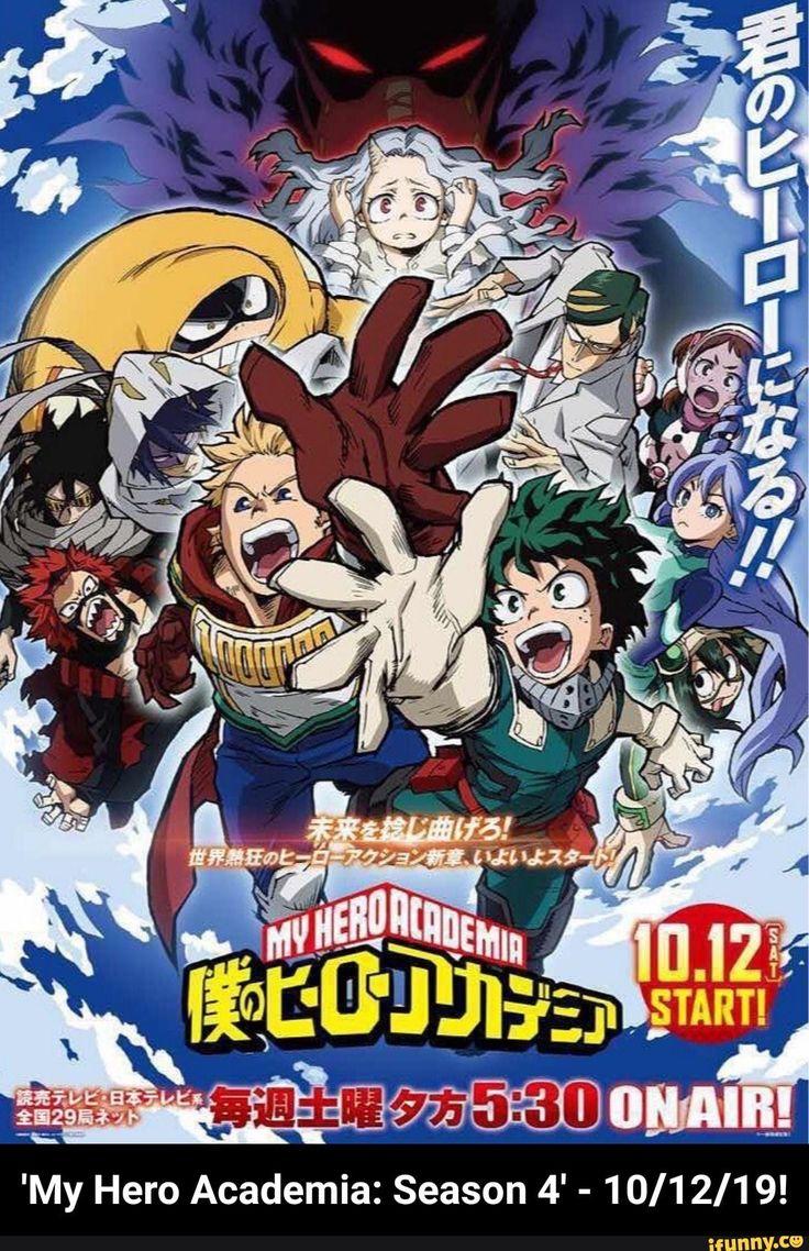 My Hero Academia Season 4 10 12 19 Temporadas Desenhos De Anime Anime