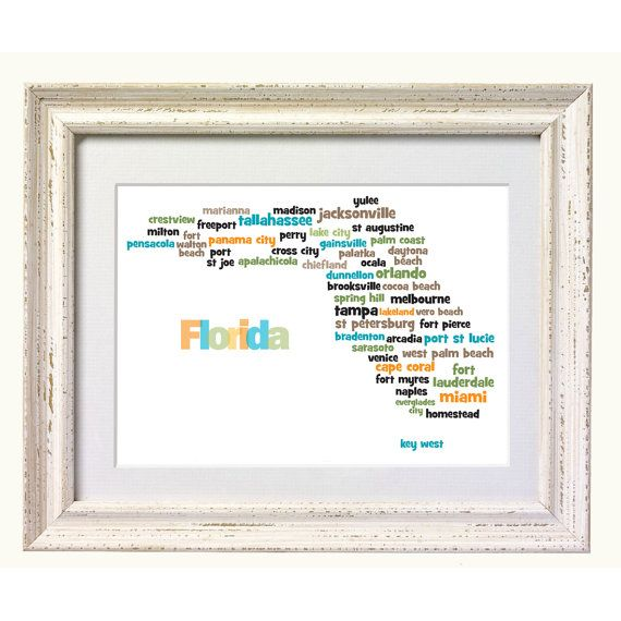 Florida City Map Typography Art print  Perfect by silvermoonprints, $10.00