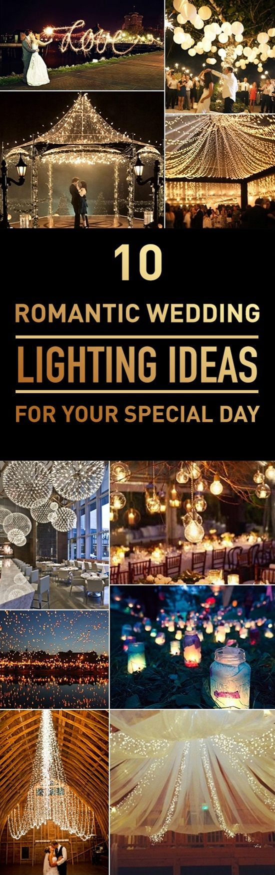 Lighting is an essential element of your wedding decor. It sets the theme and mood for your wedding and it can add a feeling of comfort and joy to your wedding. Whether you are using candles bulbs string lights lanterns or chandeliers you should take your time when you choose the appropriate lighting that suits your wedding theme. To help you with this task in this list we bring you different creative lighting ideas for inspiration.