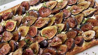 Fig and goat's cheese tart with lemon icing recipe : SBS Food