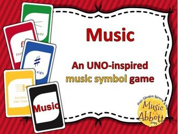Kids LOVE UNO and theyre sure to love this Music Symbol version of this UNO inspired game!  Students will reinforce their music symbol knowledge while having a great time paying this card game classic.This works GREAT in music class and in the music teachers Sub Tub!If you like this game, you might also enjoy:Treble Clef playing cards I Have, Who has Treble Clef Words Bundled Set Swat that Fly: A Bundled Collection of Games for the Recorder Swat that Fly: A Music Reading Game for the…