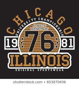 ebd5c899 Chicago, Illinois typography for t-shirt. Original sportswear print.  Athletic apparel typography. Graphic for design clothes. Vector  illustration.