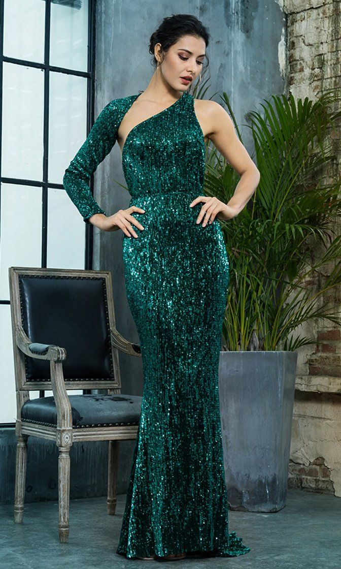 81b34cf4e3 Hollywood Moment Green Sequin One Shoulder One Long Sleeve Backless ...