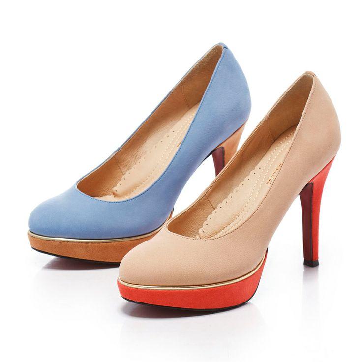 1-2780 Fair Lady 芯太軟 歐美熱潮撞色高跟鞋 藍 - Yahoo!奇摩購物中心