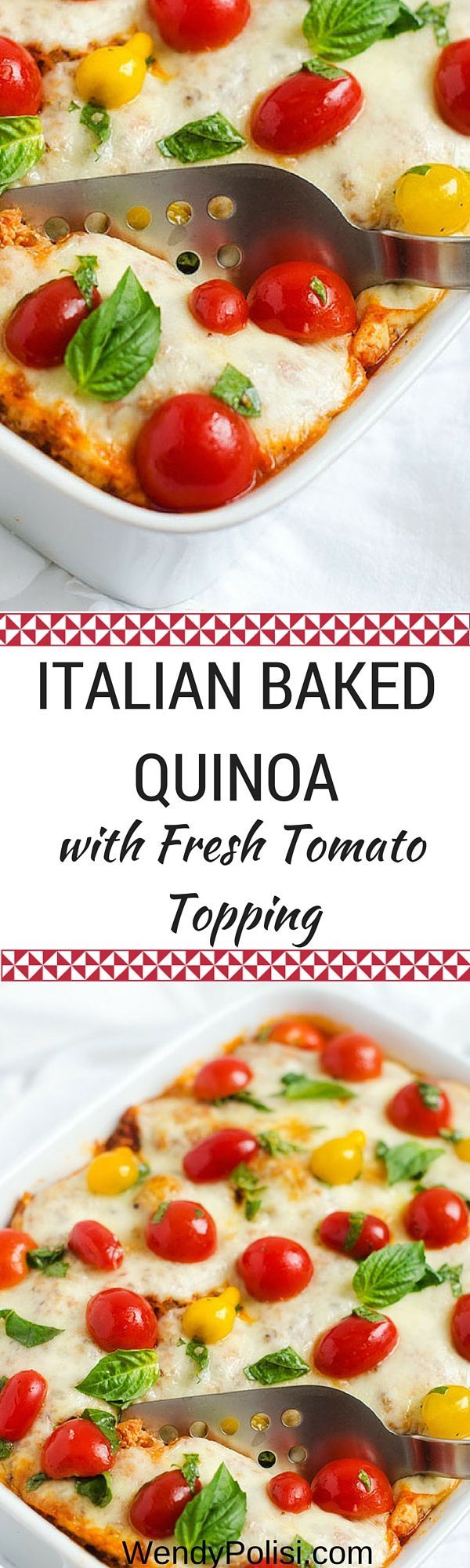 Italian Baked Quinoa with Fresh Tomato Topping - This gluten free casserole can easily be made vegetarian.