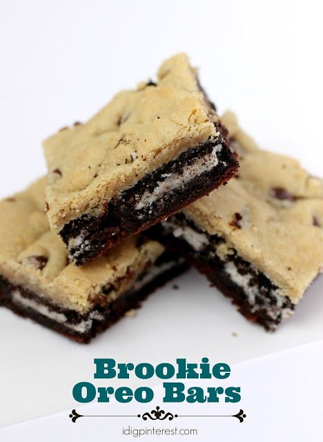 Brookie (brownie cookie) Oreo Bars. The ultimate dessert combination…a brownie and a cookie, and as if that wasn't phenomenal enough, OREO cookies are embedded within.
